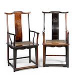 An unusual pair of huanghuali and jichimu yoke back arm chairs 18th/19th century