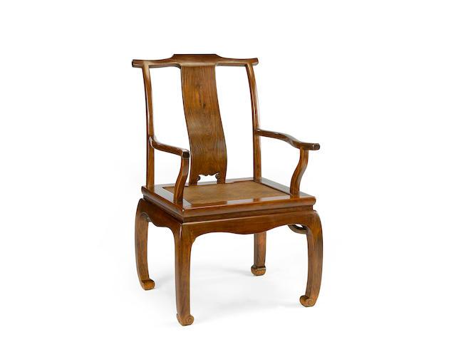 A huanghuali yokeback arm chair, sichutou guanmaoyi  18th century