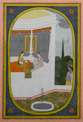 Illustration to a Rasikapriya series: Krishna eavesdrops on Radha and her confidant Kangra, circa 1810