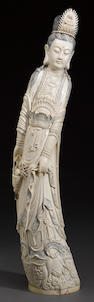 A large pieced and tinted ivory figure of Guanyin 20th century