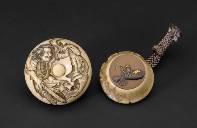 One ivory and one stag antler netsuke 19th century