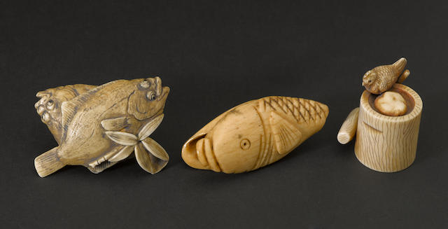 A group of three netsuke