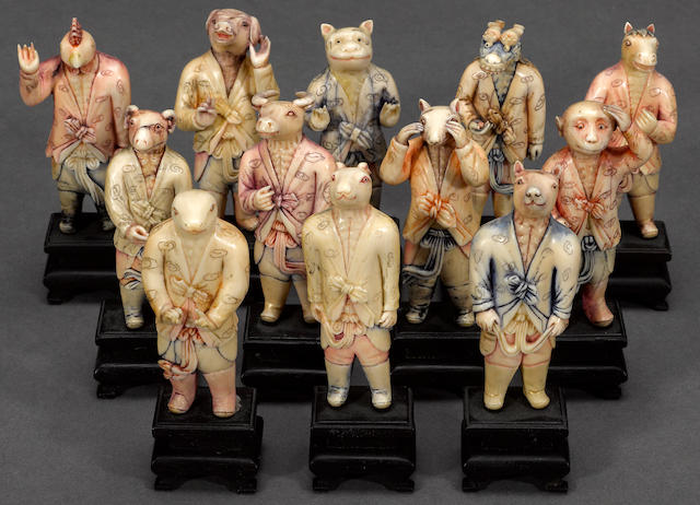 A set of twelve tinted ivory carvings of the zodiac animals Republic period