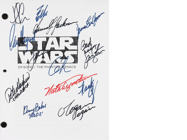 A script of Star Wars Episode I: The Phantom Menace, signed by the cast