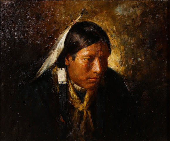 Attributed to Joseph Henry Sharp Portrait of a pensive indian