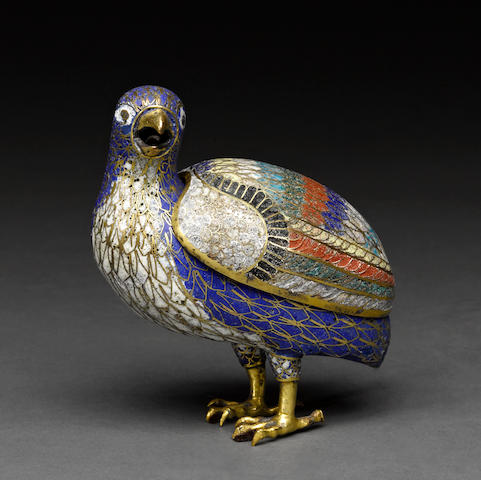 A cloisonné enameled metal quail box  19th century