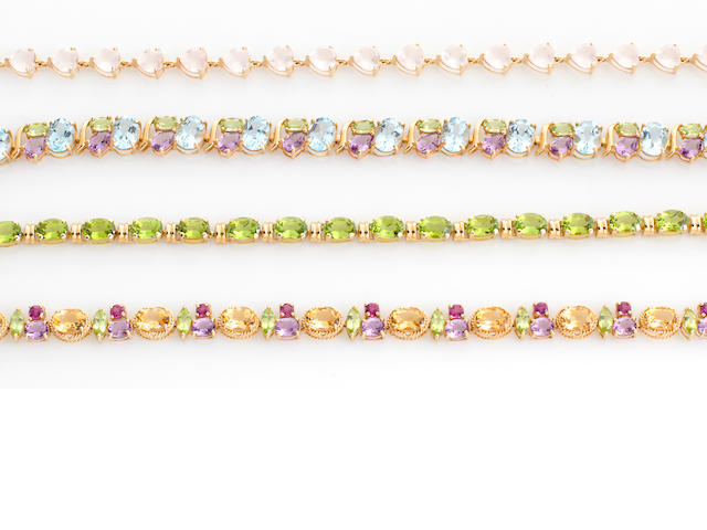 Four gem-set and 14k gold bracelets