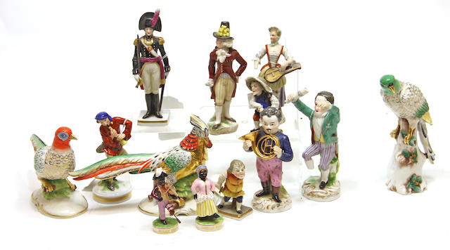An assembled group of thirteen European porcelain figures Second half 19th century/first half 20th century