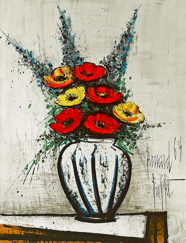 Bernard Buffet (French, 1928-1999) Delphiniums et pavots, 1964 92 x 73.5cm (36 1/4 x 28 15/16in)