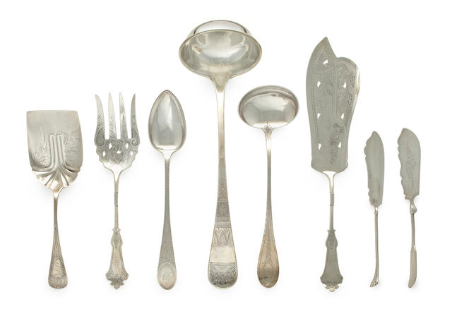 Eight American silver various serving utensils