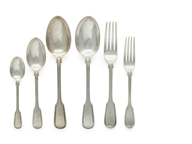 assembled silver fiddle thread flatware set  (59)