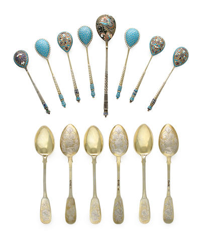 A set of twelve Russian silver gilt and engraved teaspoons and eight Russian various silver and enamel spoons  Moscow, 1895, mark IP in Cyrillic, 84 standard, other spoons: Moscow, marks of Liubavin, 11th Artel, Gustav Klingert