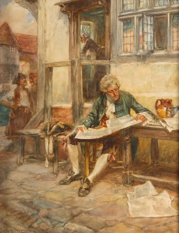 Arthur David McCormick, Gentleman reading, Signed, Watercolor on paper, 14 x 10in