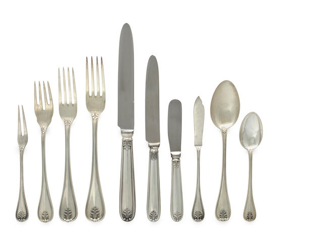 An Italian sterling flatware set, with wooden case M. Buccellati, Milan <br>Laura
