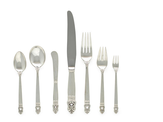 American silver 107-pc. flatware service, Royal Danish pattern