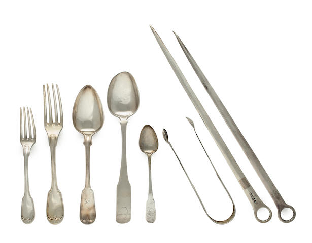 Thirty six American or English silver various flatware utensils
