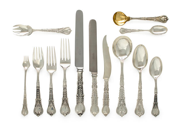 A 269 piece extensive American silver flatware service. Tiffany & Co, New York, circa 1900. Florentine pattern