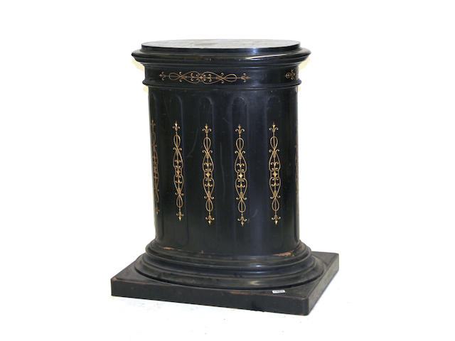 A pair of Victorian ebonized and parcel gilt oval pedestal