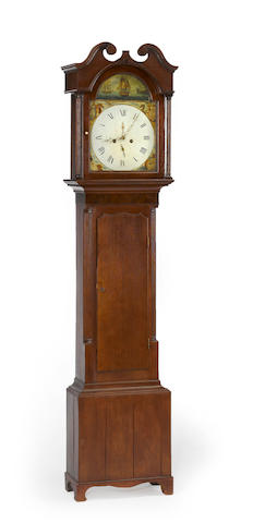 A George III oak and mahogany tall case clock third quarter 18th century