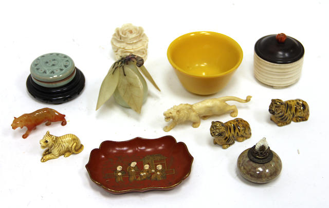As assembled grouping of miscellaneous Asian decorative articles