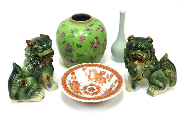 A miscellaneous group of Asian porcelain decorative articles
