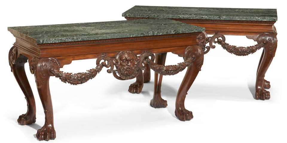 A pair of Irish George II style mahogany consoles possibly by Hicks of Dublin late 19th century
