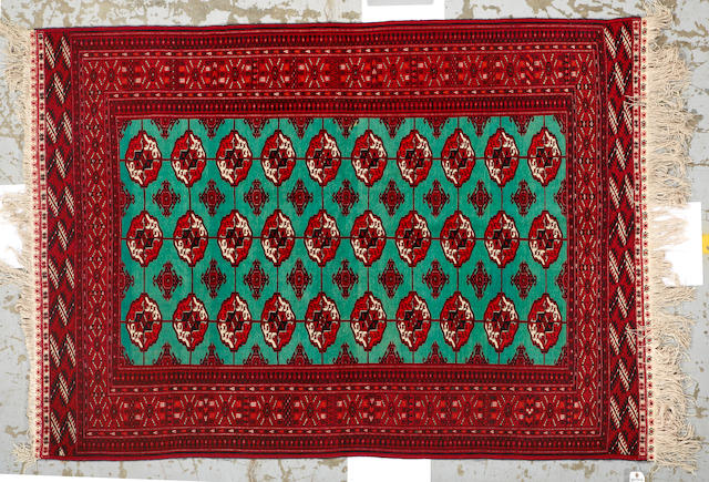 A Tekke rug (silk foundation) Turkestan size approximately 4ft 10in x 6ft 10in