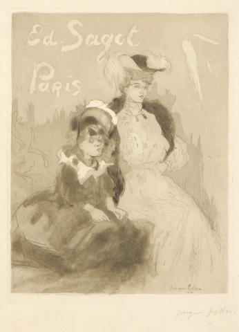 Jacques Villon (French, 1875-1963); Carte adresse Sagot (femme et fillette);