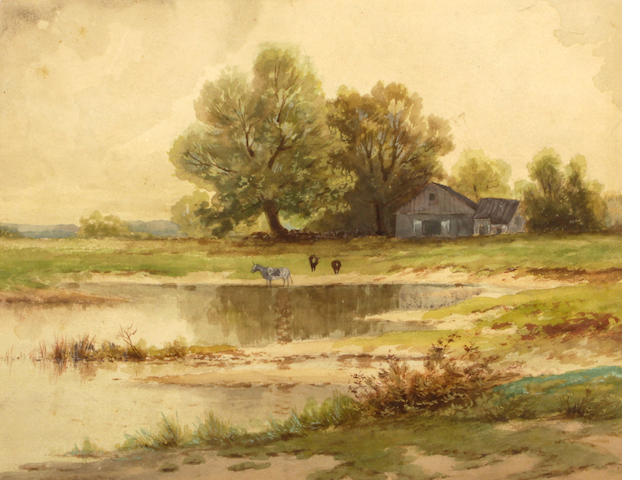 Group of 8 watercolors: American school, Landscape with house and trees; Grace Free, Country Landscape with Trees; Frederic Nunn, Various images (6)
