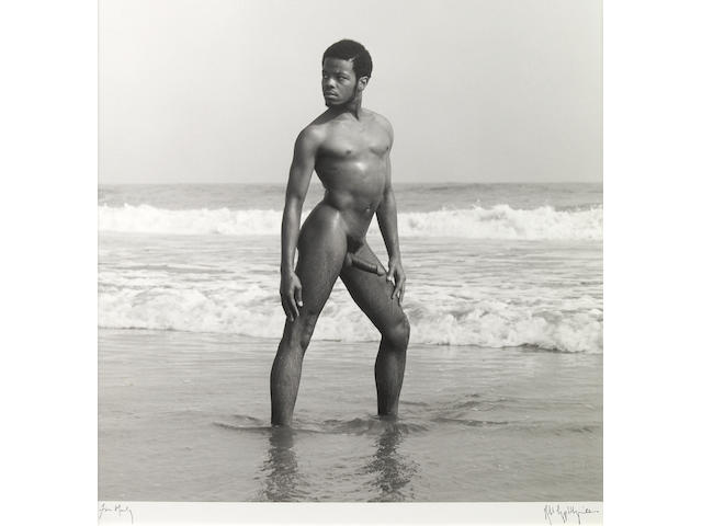 Robert Mapplethorpe, nude in ocean, gelatin silver print, signed, dated and dedicated