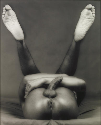 Robert Mapplethorpe, nude on back, gelatin silver print (estimate if signed)