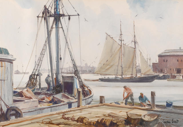 Gordon Hope Grant (American, 1875-1962) Fishermen at the pier 14-1/2 x 21 in. (36.8 x 53.3 cm.)