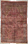 A Kashan silk rug Central Persia size approximately 4ft. 2in. x 6ft. 8in.
