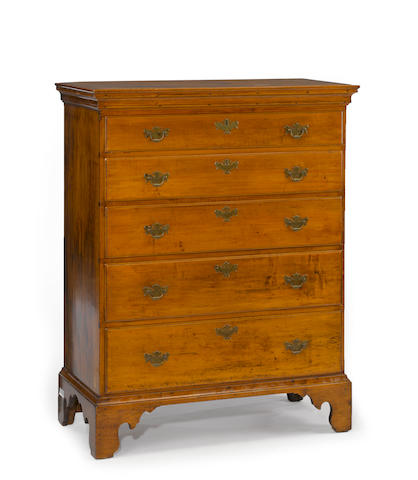 A Chippendale maple chest of drawers<BR />late 18th century