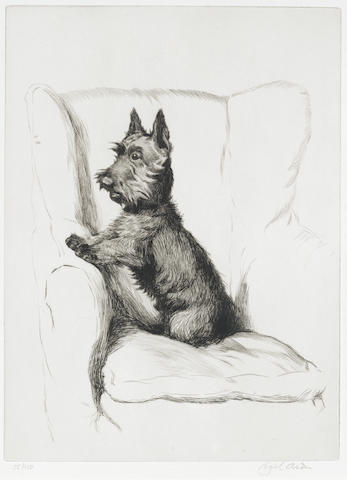 Cecil Charles Windsor Aldin, RBA (British, 1870-1935) A Scottish terrier in an armchair