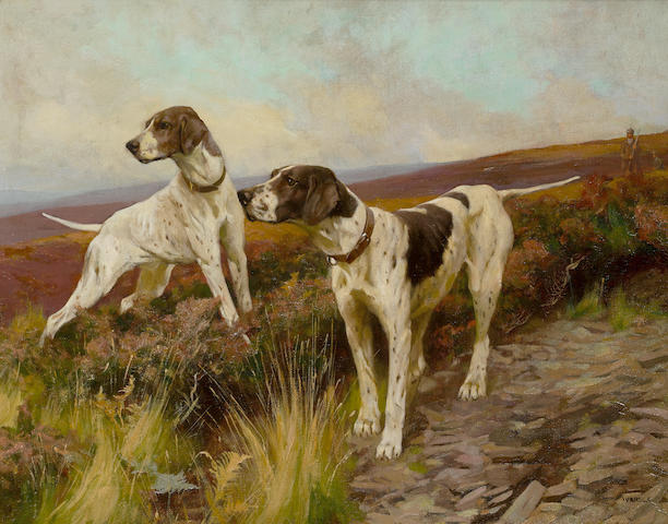 Arthur Wardle, RI (British, 1864-1949) Pointers on a moor 15 3/4 x 19 7/8 in. (40 x 50.5 cm.)