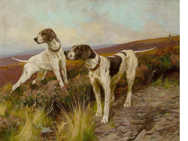 Arthur Wardle, RI (British, 1864-1949) Pointers on a moor