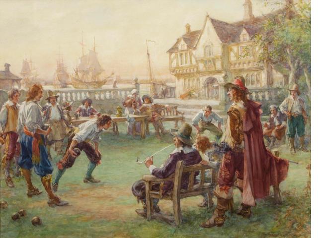 Arthur David McCormick, RI (British, 1860-1943) In good King Charles' golden days 21 1/2 x 27in