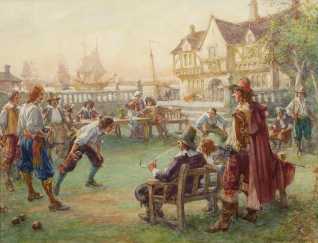 Arthur David McCormick, RI (British, 1860-1943) In good King Charles' golden days 21 1/2 x 27in