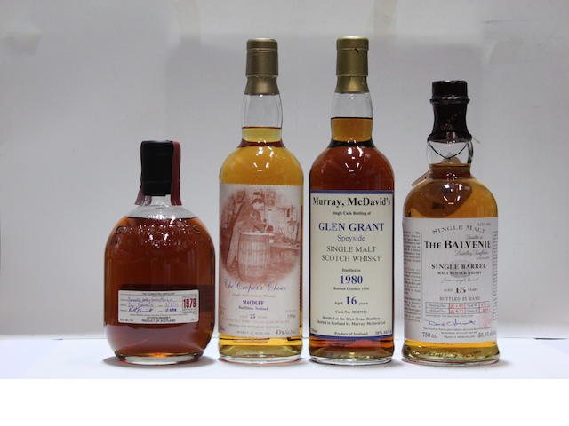 The Balvenie Single Barrel-15 year old-1977Glen Grant-16 year old-1980Glenrothes-16 year old-1979MacDuff-25 year old-1971