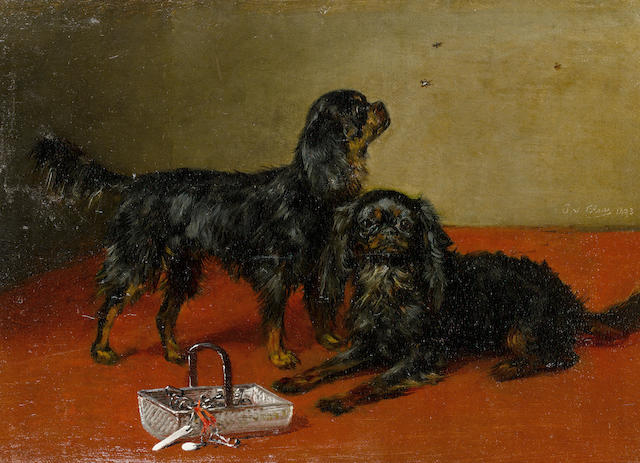 Julius von Blaas (Austrian, 1845-1923) Black and Tan Cavalier King Charles Spaniels 9 1/8 x 12 5/8 in. (23 x 32 cm.)