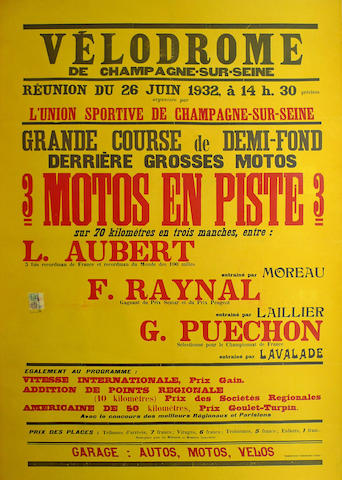 A Velodrome event poster, 1932,
