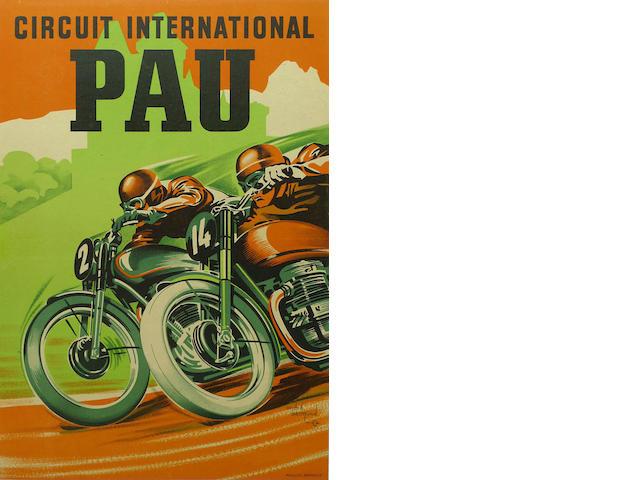 A Pau International Circuit poster, circa 1950,