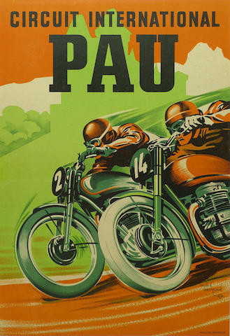 A Pau International Circuit poster, circa 1950,