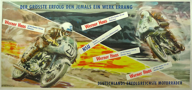 A Grosste Erfolg, NSU, poster with art by Walter Gotschke, 1953,