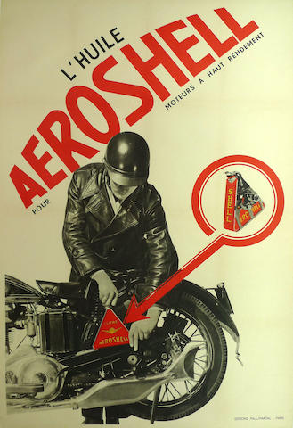 A L'Huile Aeroshell advertising poster, circa 1930,
