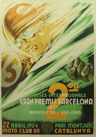 A Barcelona GP poster, 1934,