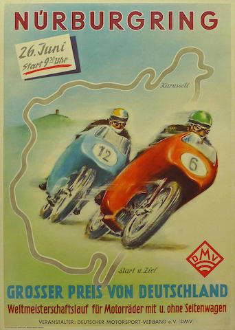 A Nurburgring GP Germany poster, 1955,
