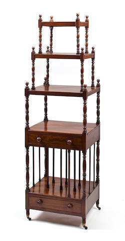 A late Regency mahogany five tier Canterbury whatnot