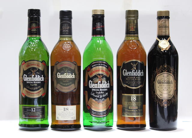 Glenfiddich Excellence-18 year old  Glenfiddich Ancient Reserve-18 year old  Glenfiddich-18 year old  Glenfiddich-12 year old  Glenfiddich (2)
